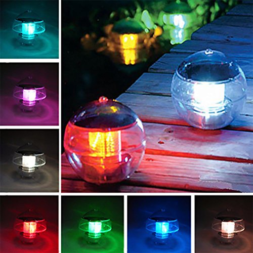 Ragdoll50 Solar Floating Pool Light, Outdoor Multifunctional LED Color Changing Waterproof Hanging Ball Floating Solar Light Fountain Fish Tank Pool Lamps by Ragdoll50