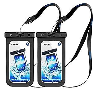 Mpow [2 Pezzi] Custodia Impermeabile Cellulare, [Garanzia a Vita] IPX8 Impermeabile Smartphone, Borsa Impermeabile Compatibile con iPhone 7/7 Plus Tasto Home per iPhone,Huawei,Samsung,Sony(Nero) 8 spesavip