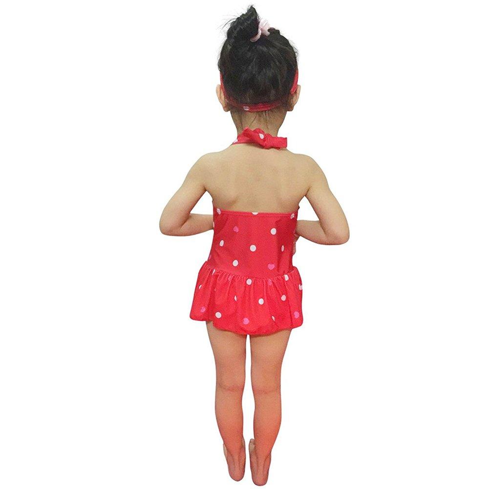 f674e805ae68 PIN Costume da Bagno Intero Bambina Neonata con Gonna Bowknot Carina con  Fascia Fasce per Capelli Ragazza Abito Costumi da Bagno Estate Swimwear  Mare e ...