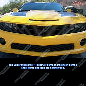 For 2010-2013 Chevy Camaro SS V8 Black Billet Grille Grill Insert Combo