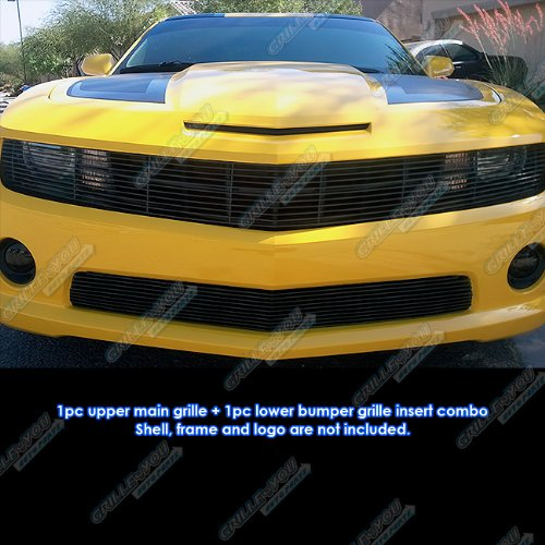APS Compatible with 2010-2013 Chevy Camaro SS V8 Phantom Style Black Billet Grille Grill Insert Combo C61029H