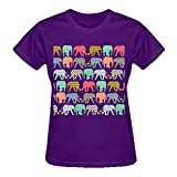 Latoca Baby Elephants And Flamingos Pure Cotton Cotton T Shirt For Women O-Neck Purple