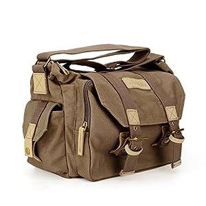 Vintage Waterproof Canvas DSLR SLR Shockproof Camera Shoulder Messenger Bag for Canon Sony Nikon