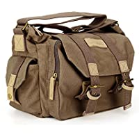 Caden Canvas Camera Bag Sling Vintage Shoulder Padded Insert Messenger Bag for DSLR SLR Digital Camera for Canon Sony Nikon Kodah Pentax Panasonic Olympus(Coffee)