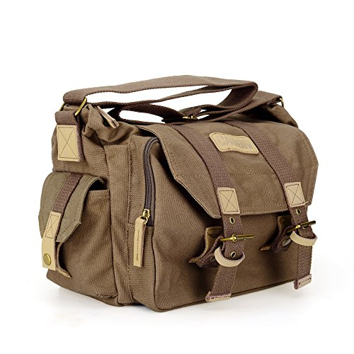 Vintage Waterproof Canvas DSLR SLR Shockproof Camera Shoulder Messenger Bag for Canon Sony Nikon