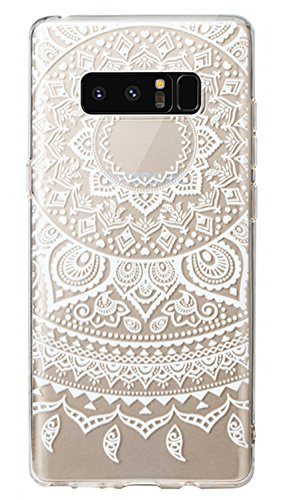 Pretty Floral Pattern (Galaxy Note 8 Case, 3Cworld Ultra Thin Clear Art Pattern Crystal Gel TPU Rubber Flexible Slim Skin Soft Case for Samsung Galaxy Note 8 (Mandala - White))