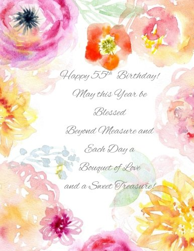 Happy 55th Birthday!: May this Year be Blessed Beyond Measure and Each Day a Bouquet of Love and a Sweet Treasure! 55th Birthday Gifts for Her in all ... Cake Toppers Gifts for Her in Novelty & More