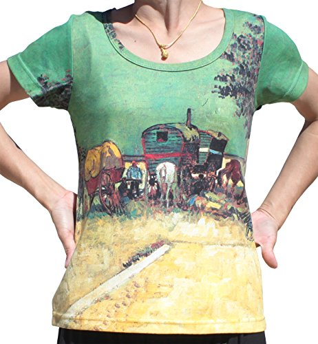 RaanPahMuang Brand Van Gogh Caravans Of gypsies Ladies T-Shirt, X-Large (Cotton Thai Craft)