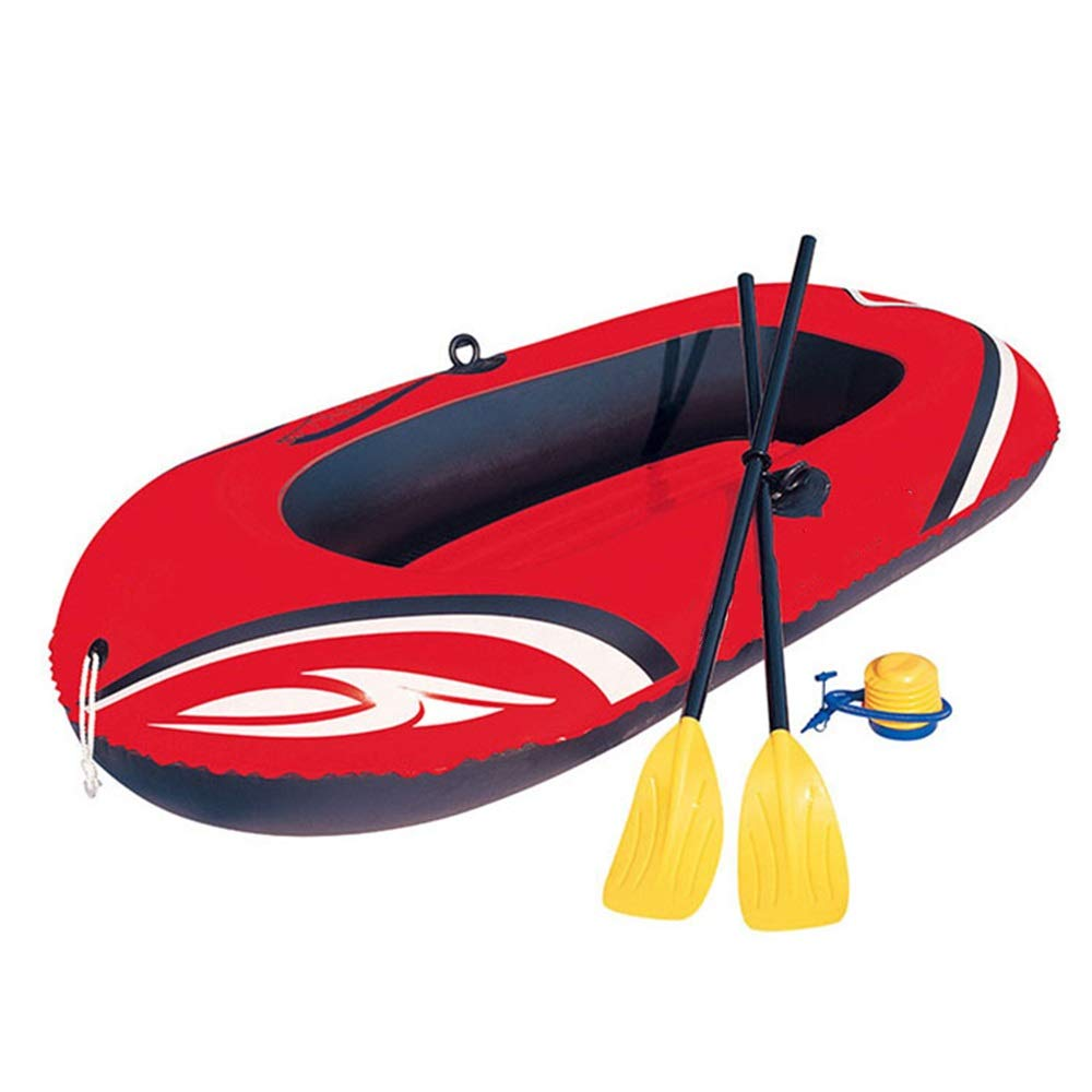 ZnMig Easy to Use Durable Two Thicker Kayak Dinghy Inflatable Boat Hovercraft Inflatable Assault Boat Inflatable Boat Fishing Boat/Red (Color : Red, Size : 196x114cm) by ZnMig