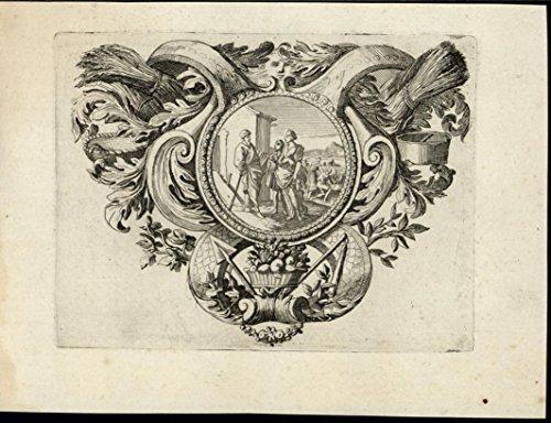 (Farmers Agriculture Spear Grain Bundles Basket 1705 wonderful rare antique print)