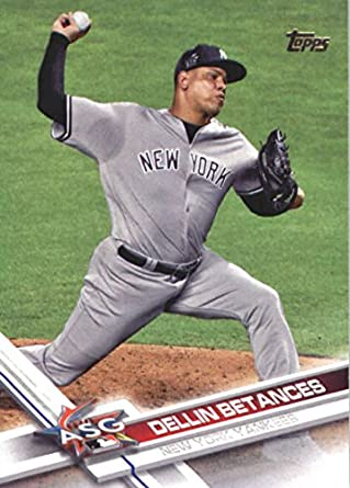 2017 Topps Fire Red Flame #90 Dellin Betances New York Yankees Baseball Card Honkbal