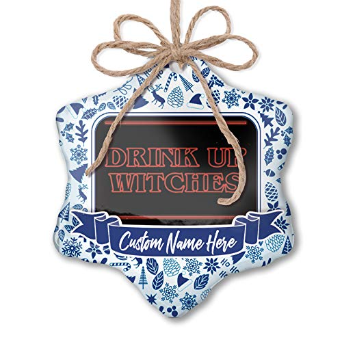 NEONBLOND Custom Tree Ornament Drink Up Witches Halloween Strange and Spooky with Your Name ()