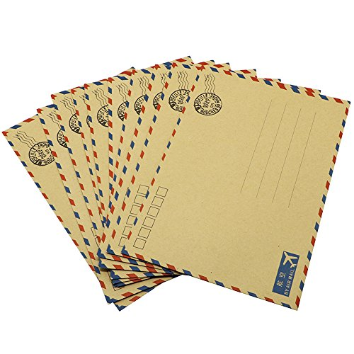 Hybsk(TM) 10 pcs Sheets Envelope Postcard Letter Stationary Storage Paper AirMail Vintage (Tan) (Airmail Postcard)
