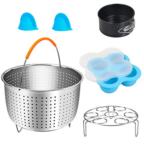 Mini 3 Quart Accessories Set Compatible with Instant Pot 3 Qt and other 4-Quart Pressure Cooker, Includes Steamer Basket, Silicone Egg Bites Molds, Springform Pan, Egg Steamer Rack, Mini Mitts