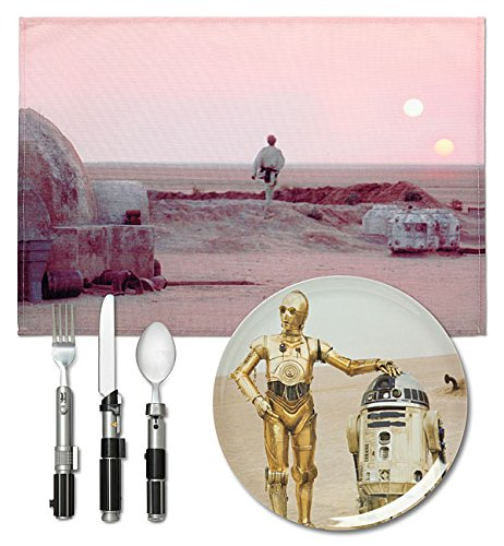 Star Wars Lightsaber Flatware Utensil Set with BONUS Star Wars Plate and Placemat