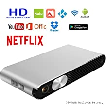 Mini Pico Smart Portable Video Projector Home Theater - 3000 lumen(300 ANSI), Support 1080P(Native 720P), Throw up 200 inch Screen. Rechargeable,HDMI & WIFI Wireless for Iphone And Android