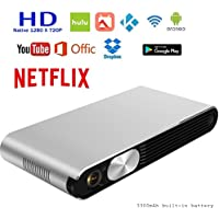 HD Smart Pico Portable Projector, Mini Pocket 3D Movie Home Theater - 3000 lumen (300 ANSI), Supports 1080P Video(Native 720P), HDMI & Wireless WIFI Bluetooth for iPhone & Android Mobile