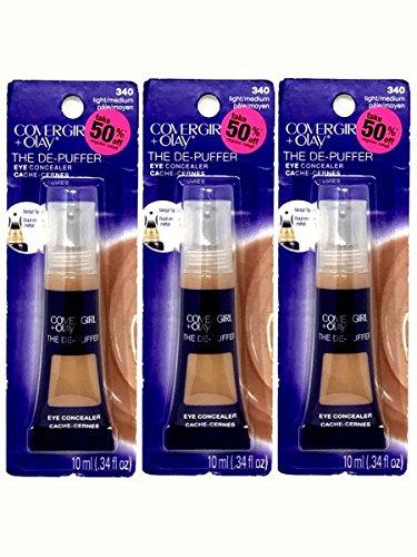Set of 3 CoverGirl + Olay 0.34 oz The De-Puffer Light/Medium 340 Eye Concealer Tube 046200012139