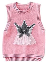 JELEUON Little Girls Natural Wool Pullover V Neck Sweater Vest