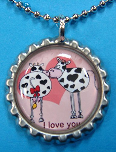 (1 Valentines Day Silver Bottle Cap Pendant Necklace #16)
