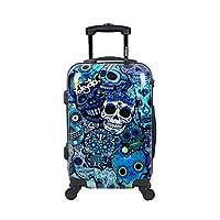 TOKYOTO Luggage Carry-on Trolley Luggage Cabin Suitcase Hand 4 Wheeled Luggage Travel Bag - BLUE SKULLS