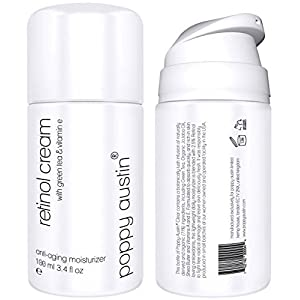 Best Retinol Cream for Day & Night by Poppy Austin - TRIPLED SIZED 3.4 oz Bottle - 2.5% Retinol, Vitamin E, Green Tea & Shea Butter - Exquisite, Anti Aging Face Moisturiser & 2018 Best Wrinkle Cream