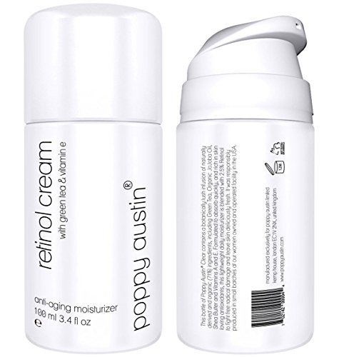 Best Retinol Cream for Day & Night by Poppy Austin - TRIPLED SIZED 3.4 oz Bottle - 2.5% Retinol, Vitamin E, Green Tea & Shea Butter - Exquisite, Anti Aging Face Moisturiser & 2016 Best Wrinkle Cream