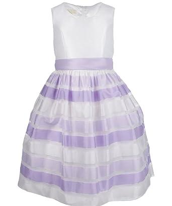 American Princess Big Girls Plus Size Ribbon Stripe Dress Lilac