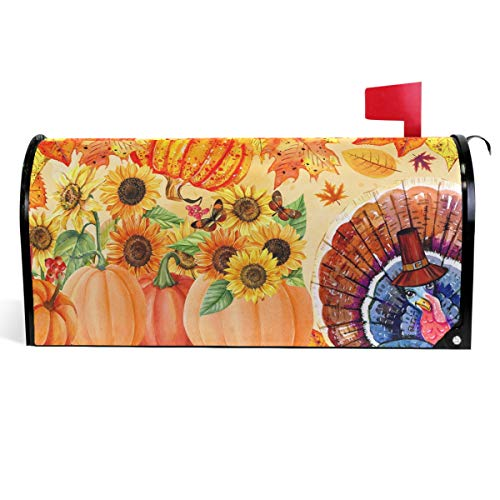 Wamika Sunflowers Pumpkins Fall Mailbox Cover Thanksgiving Turkey Mailbox Covers Magnetic Autumn Maple Leaf Mailbox Wraps Post Letter Box Cover Garden Decorations Outdoor Standard Size 18