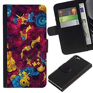UberTech / Apple Iphone 6 4.7 / Button Sewing Abstract Maroon / Cuero PU Delgado caso Billetera cubierta Shell Armor Funda Case Cover Wallet Credit Card