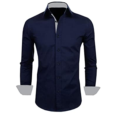 c3d79a193 IndoPrimo Men's Cotton Casual Shirt for Men Full Sleeves (Navy Blue) (Small  -