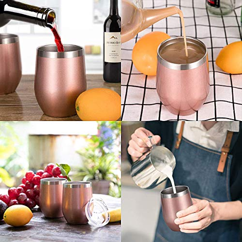 Zonegrace 4 pack Rose Gold 12 oz Stainless Steel Stemless Wine Glass Tumbler Double Wall Vacuum Insulated Wine Tumbler with Lids Set of 4 for Coffee, Wine, Cocktails, Ice Cream Including 4 Straws by Zonegrace (Image #4)