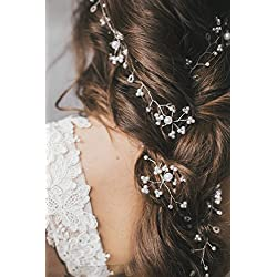Jovono women's Wedding Bridal Silver Head vine Bead Rhinestone Bridal hair Updo accessory Headpiece for Women and Girls