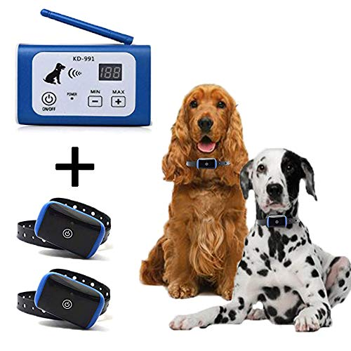 - PETSO Wireless Dog Fence System for 2 Dogs, Electric Pet Containment System for Dog and Pets with Waterproof and Rechargeable Training Collar Receiver for Two Dogs Boundary Container