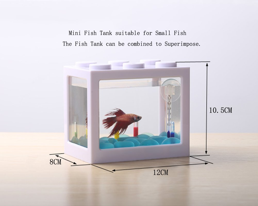 OMEM USB Mini Fish Tank, Micro Tanque de Escritorio LED Fish Tank, Kit de Acuario, Bloques de construcción Tanque de Peces superpuestos (1-W): Amazon.es: ...
