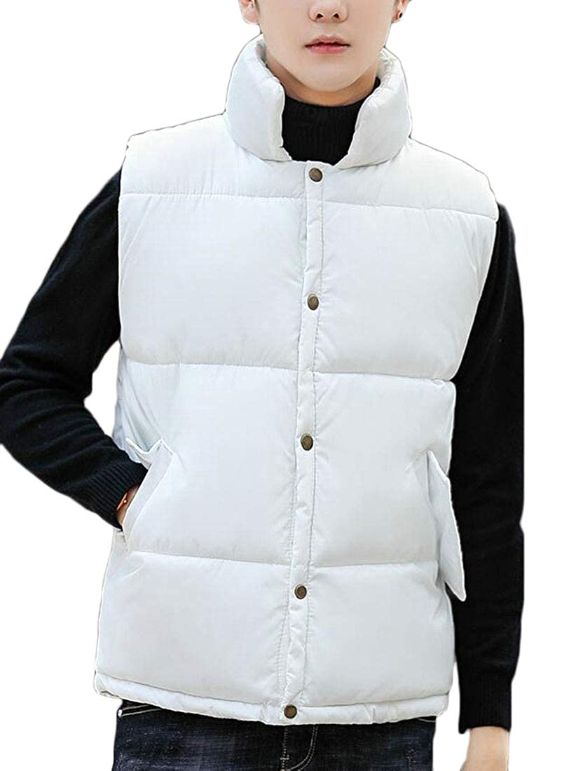 Jaycargogo Mens Thick Waistcoat Sleeveless Winter Puffer Quilted Button Down Wasitcoat