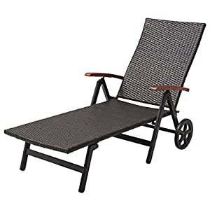 Patio Lounge Chair Adjustable Folding Recliner Wheels Deck Beach Rattan Brown