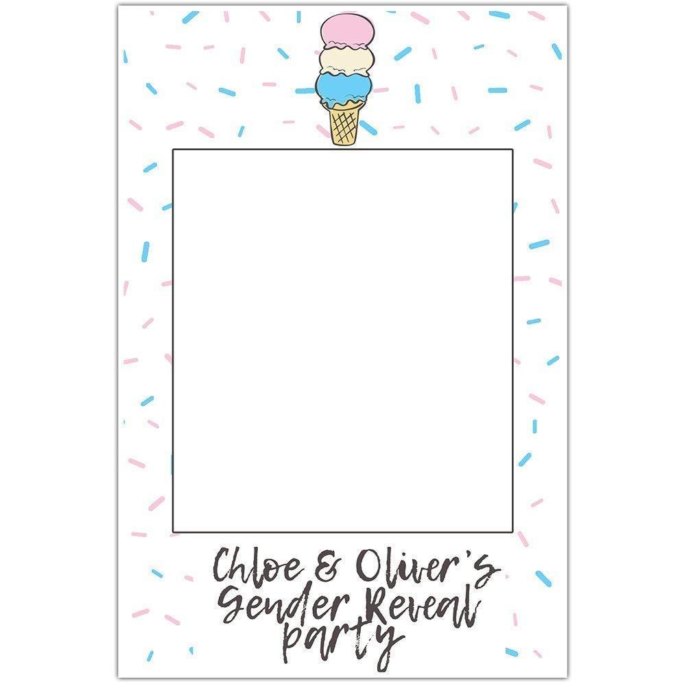 Ice Cream Gender Reveal Baby Shower Selfie Frame Poster