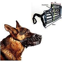 Basket Cage Dog Muzzle Size 5 - LARGE - Adjustable Straps - BLACK, by Downtown Pet Supply