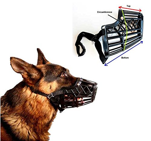 Basket Cage Dog Muzzle Size 1 -XX SMALL - Adjustable Straps - BLACK, by Downtown Pet Supply Small Medium Size Dog