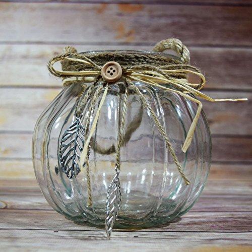Fantado Hanging Glass Round Vase w/ Burlap Handles by PaperLanternStore
