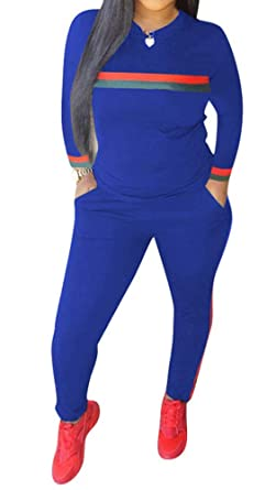14fb676e0ae TOP-MAX Women's Sweatsuits, Velour Stripe Jogging Zipped Hoodie - Fashion  Sport Suit, Hoodie and Pants Sports Tracksuits