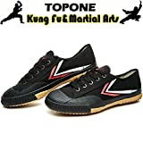 T.O.P ONE Kung Fu Martial Arts Parkour Shoes,Rubber Sole Sneakers-Black 30(Child 1)