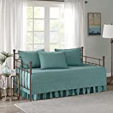 Comfort Spaces Twin Daybed Bedding Sets - Kienna 5 Pieces All Season Daybed Cover Quilt Set - Soft Microfiber Solid Blue/Teal Stitched Quilt Pattern