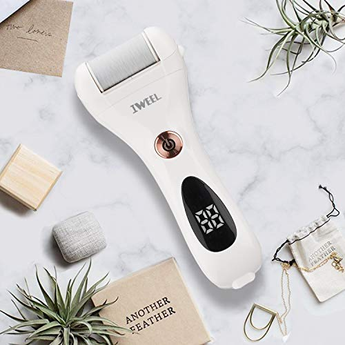Callus Remover for Feet, Rechargeable Foot Scrubber Electric Foot File Pedicure Tools for Feet Electronic Callus Shaver Waterproof Pedicure kit for Cracked Heels and Dead Skin with 5 Roller Heads