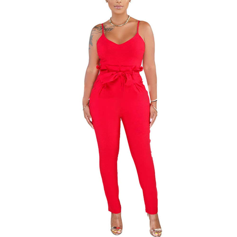 Desirepath Women Summer Spaghetti Strap Rompers Long Skinny Jumpsuits Vacation Pants Playsuit Red