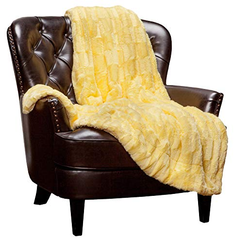 Chanasya Fuzzy Faux Fur Embossed Throw Blanket - Super Soft and Warm Lightweight Reversible Sherpa for Couch, Home, Living Room, and Bedroom Décor and Bedding - Rectangular and Feather