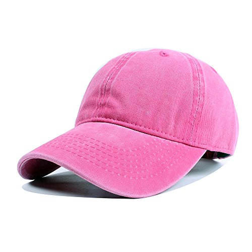 Vankerful Unisex Vintage Washed Dyed Cotton Twill Low Profile Adjustable Solid Colour Baseball Cap Strapback (Fuchsia) ()