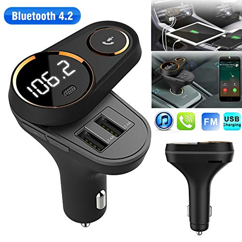 Wireless Bluetooth Rotating Handsfree Car Audio Receiver FM Adapter USB Charger