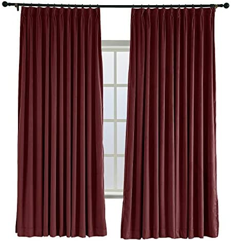 ChadMade Pinch Pleat 120W x 84L Blackout Lined Velvet Curtain Drapery Panel for Traverse Rod or Track, Living Room Bedroom Meetingroom Club Theater Patio Door 1 Panel , Burgundy